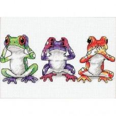 Cross-stitch kit for adults - Treefrog Trio
