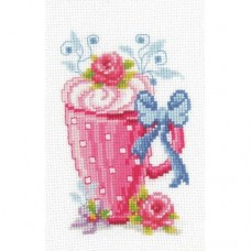 Cross-stitch kit for adults - Pink Latte