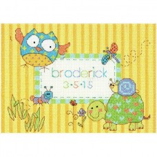 Cross-stitch kit for adults - Birth Record, Woodland Creatures