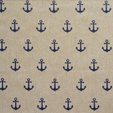 Linen look fabric Anchors - per metre