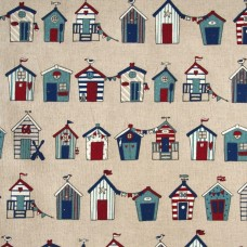 Linen look fabric per metre - Beach hut lines