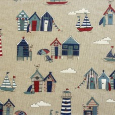 Linen look fabric per metre - Beach huts