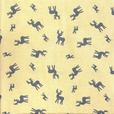 SALE Christmas John Louden, blue deer on ecru - per metre