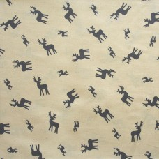 Christmas John Louden, grey deer on ecru - per metre