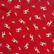 Christmas John Louden, ecru deer on red - per metre