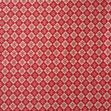 Christmas John Louden, ecru diamonds on red - per metre
