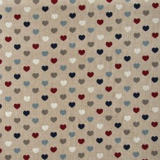 Linen look fabric per metre - Hearts