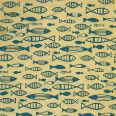 John Louden - Blue fish on ecru, per metre