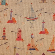 Linen look fabric Marine digiprint - per metre