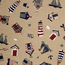 Linen look fabric per metre - Beach hut multi