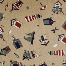 Oilcloth sample - Beach hut multi