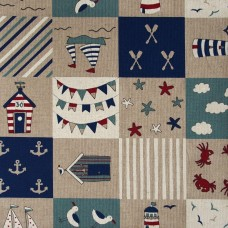 Linen look fabric per metre - Nautical patchwork