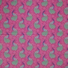 Visage textiles - Peacock on pink (per metre)