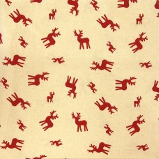 Christmas John Louden, red deer on ecru - per metre