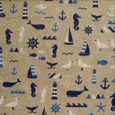 Linen look fabric per metre - Seaside mix