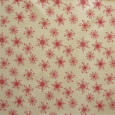 SALE Christmas John Louden linen look, red snow on ecru - per metre