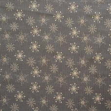 Christmas John Louden linen look, ecru snow on grey - per metre
