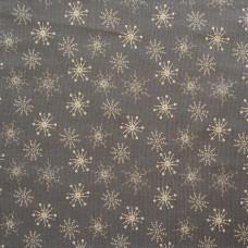 Christmas John Louden linen look, ecru snow on grey - sample