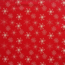 SALE Christmas John Louden linen look, ecru snow on red - per metre