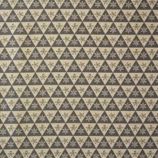 SALE Christmas John Louden linen look, grey and ecru triangles - per metre